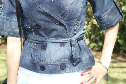 Saia couro + jeans
