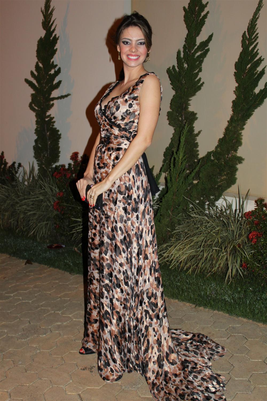 Vestido longo de estampa de onca