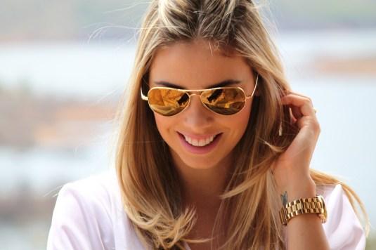 Óculos- Exótica Ótica- Ray Ban de ouro- Blog Sarah Leão