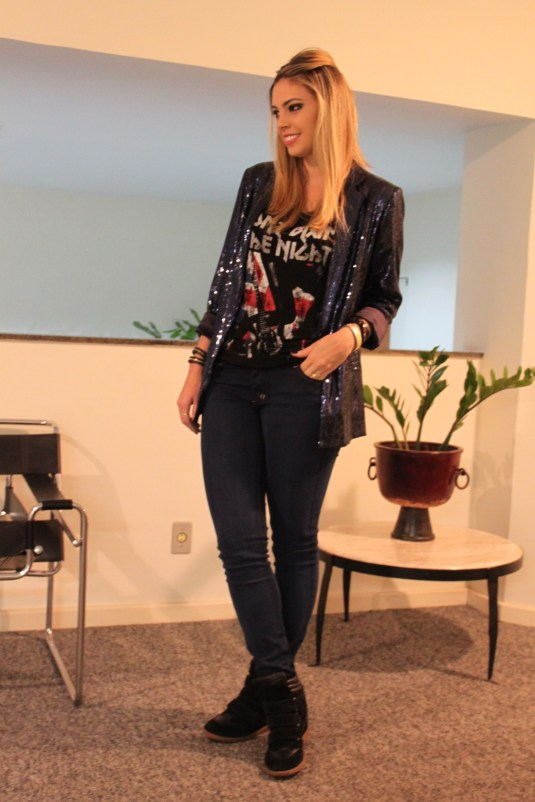 Look do dia- Look brilho- Blazer partê- sarah Leão
